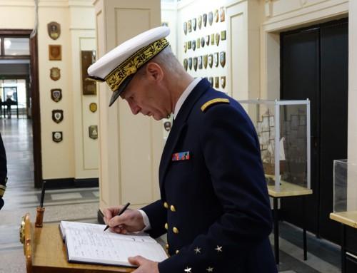 """Посещение във ВВМУ """"Н. Й. Вапцаров"""" на командващия на Френските военноморски сили в Средиземноморски регион"""